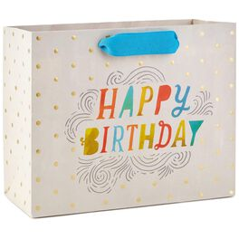 "Happy Birthday With Gold Dots Medium Gift Bag, 7.75"", , large"