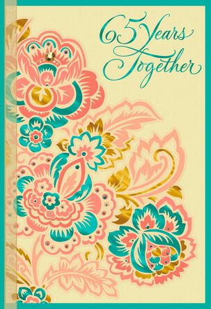 Multicolor Flowers 65th Anniversary Card