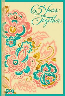 Multicolor Flowers 65th Anniversary Card,