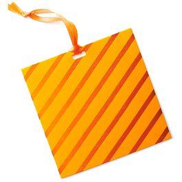 Orange Foil Stripes Gift Tag With Ribbon, , large