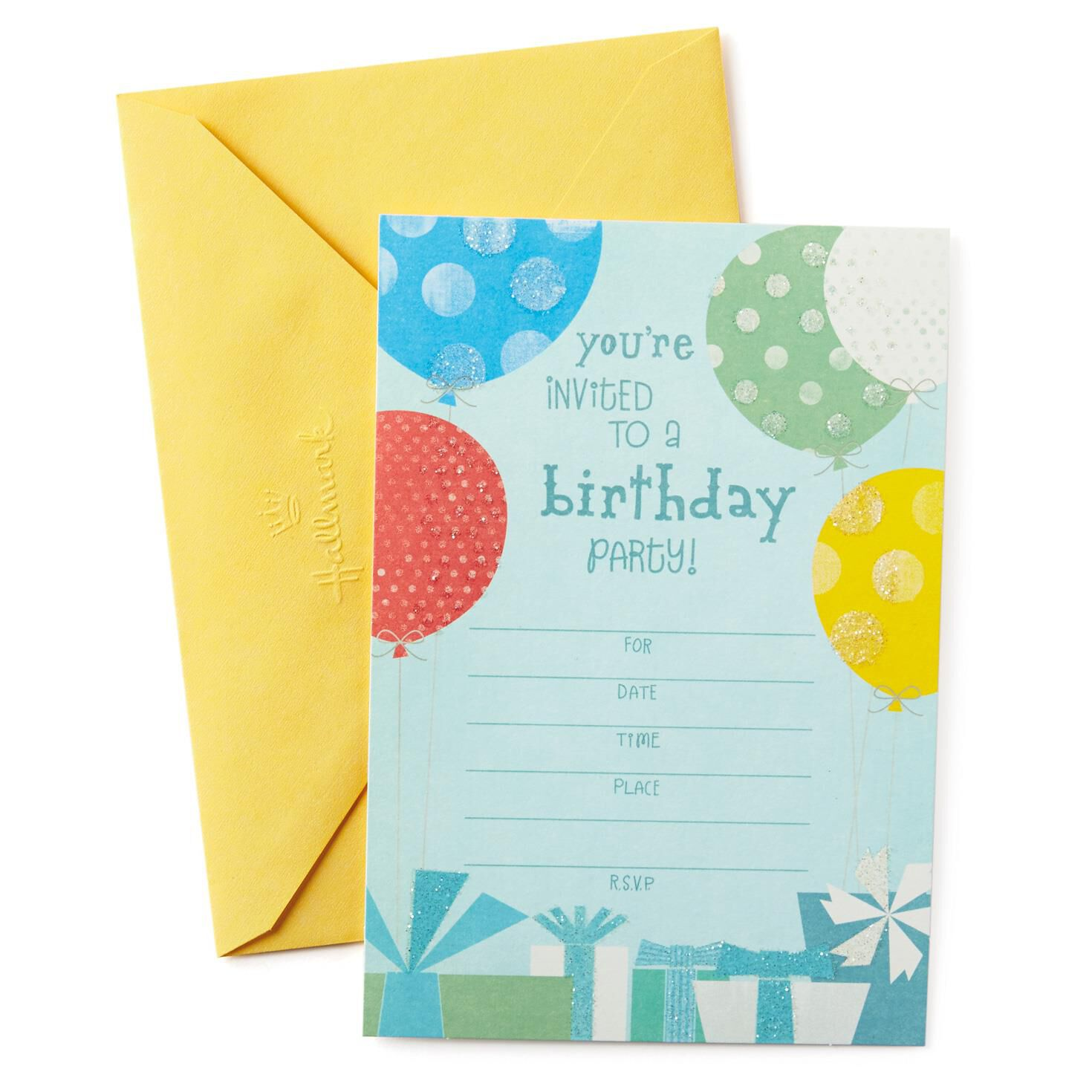 Multicolored Balloons Birthday Party Invitations Pack of 10 – Packs of Party Invitations
