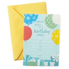 Multicolored Balloons Birthday Party Invitations, Pack of 10, , large