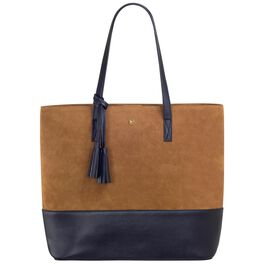 Mark & Hall Camel and Black Colorblock Tote Bag, , large