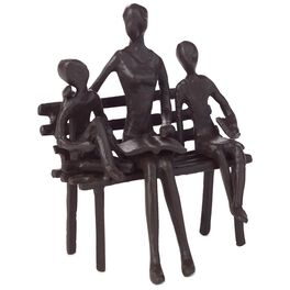 Mother With Children on Bench Metal Figurine, , large