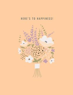 Flower Bouquet Here's to Happiness Wedding Card,
