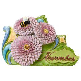 Jim Shore® November Citrine Birthstone and Chrysanthemum Flower Figurine, , large