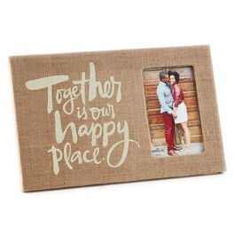 Happy Place Burlap-Wrapped Picture Frame, 4x6, , large