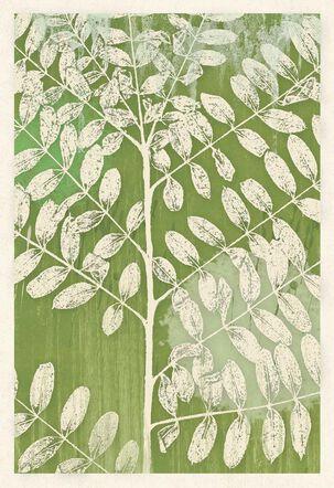 Green Leaf Print Sympathy Card