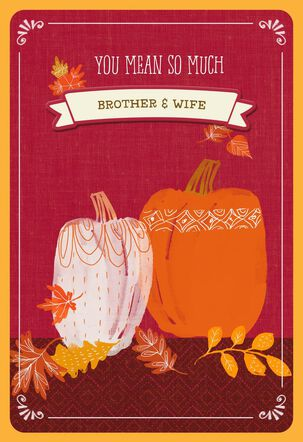 Pumpkins Thanksgiving Card with Customizable Male Relative Stickers