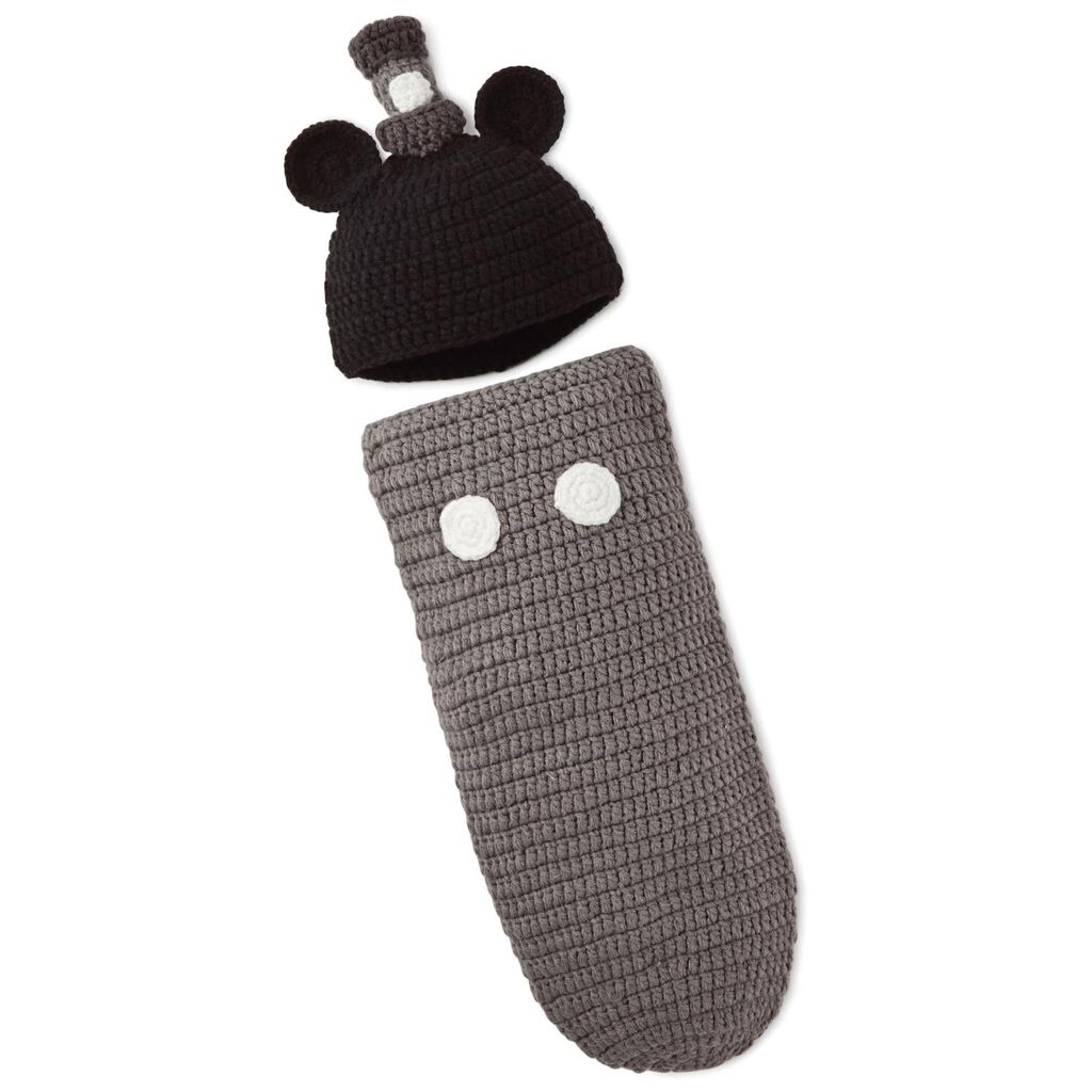 f079cb37f2519 Mickey Mouse Newborn Knit Baby Wrap and Hat Set - Baby Essentials ...