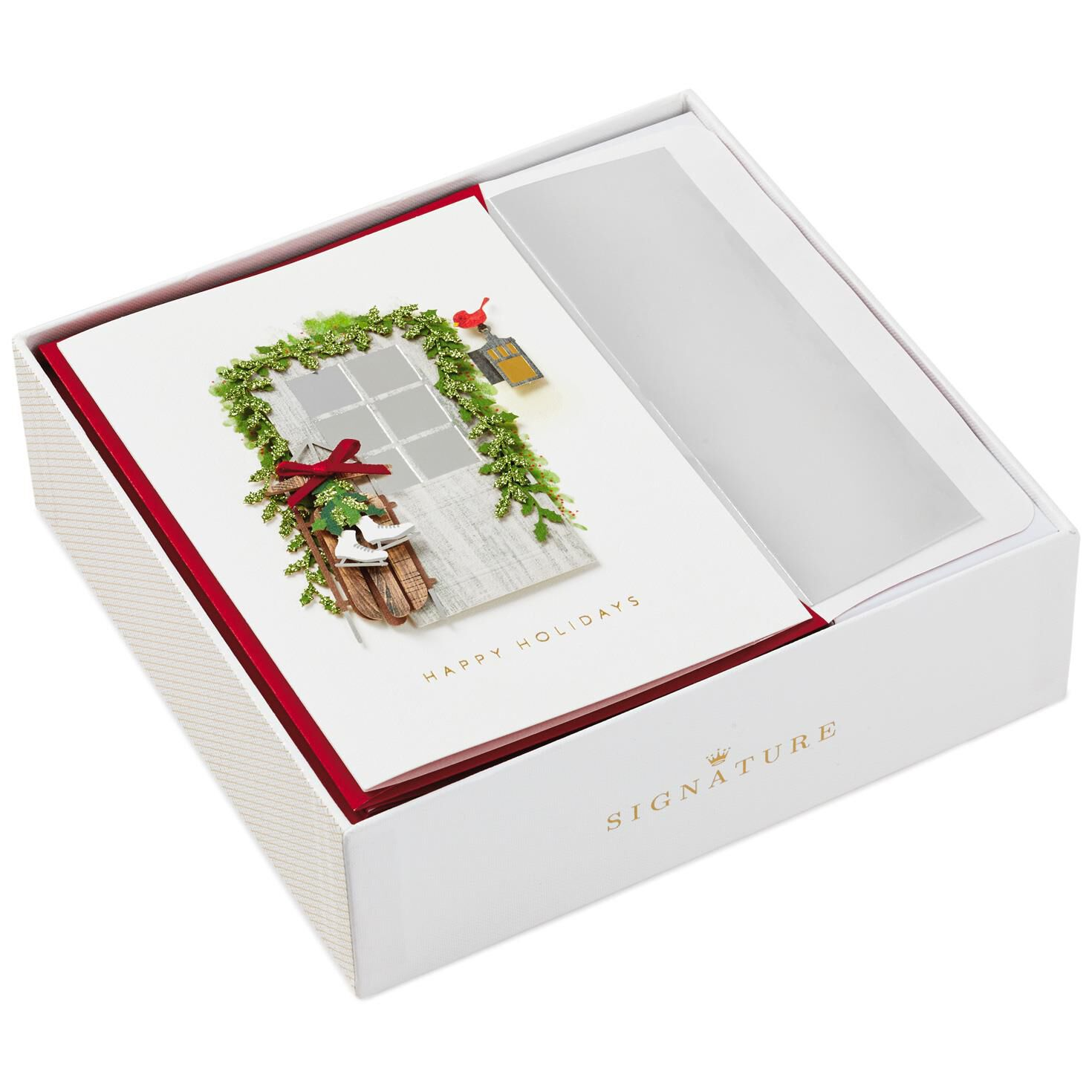 Wood Door With Sled And Ice Skates Christmas Cards Box Of 8