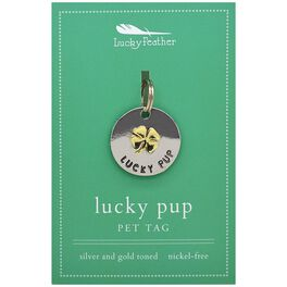Lucky Pup Pet Tag in Silver & Gold-Plate, , large