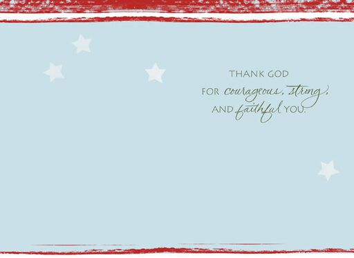 Courageous, Strong, Faithful Military Thank You Card,