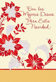 Poinsettias and Warm Wishes Spanish Christmas Card,