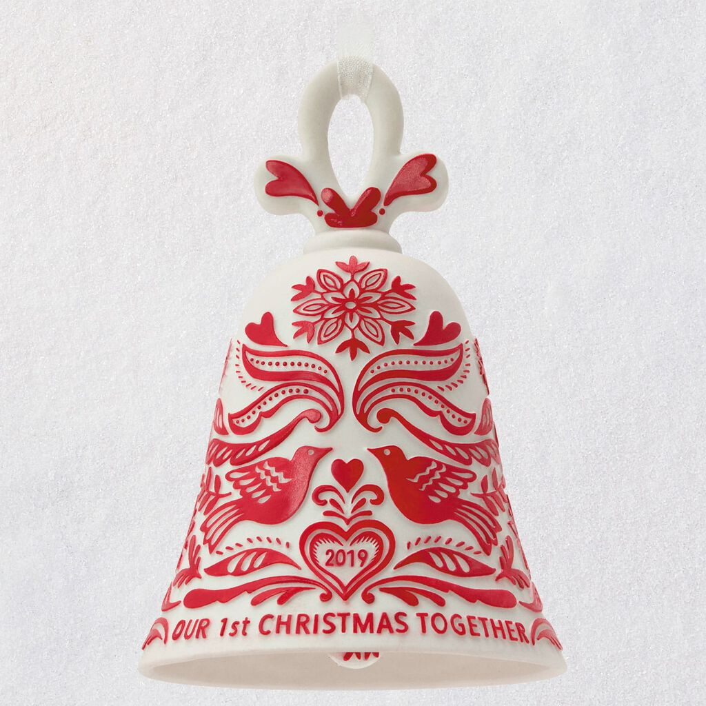 Our First Christmas 2019 Ornament Our First Christmas Bell 2019 Porcelain Ornament   Keepsake