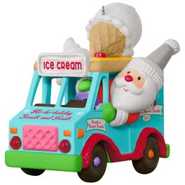 Santa's Sweet Surprise Ice Cream Truck Light and Music Ornament, , large