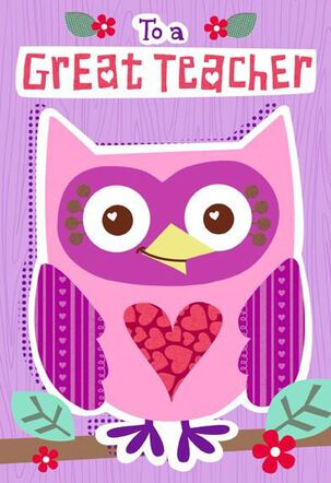 Owl for Teacher Valentine's Day Card