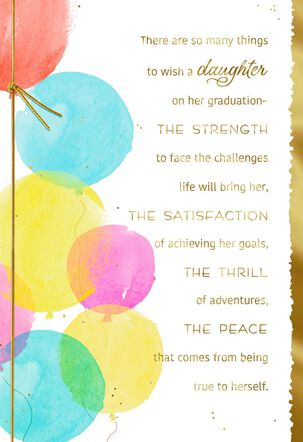 Balloon Wishes Daughter Graduation Card