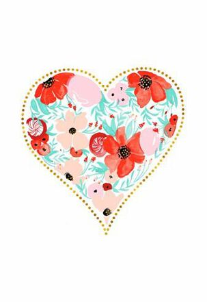 Floral Watercolor Heart Valentine's Day Card