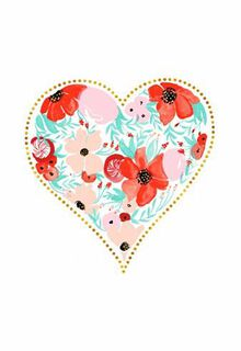 Floral Watercolor Heart Valentine's Day Card,
