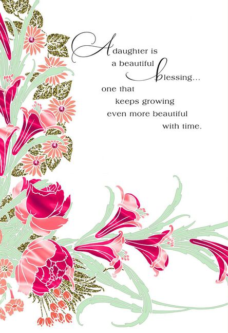 Pink Flowers A Beautiful Blessing Birthday Card For Daughter