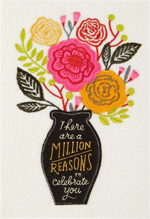 A Million Reasons Vase of Flowers Birthday Card