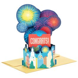 Skyline Fireworks Pop Up Congratulations Card, , large