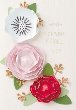 Paper Flowers French-Language Birthday Card