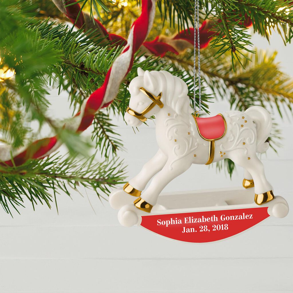 Christmas Ornaments Personalized.Baby S First Christmas Rocking Horse Personalized Ornament