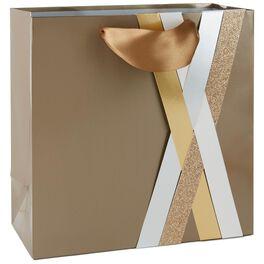 "Gold Paper Weave Large Square Gift Bag, 10.5"", , large"