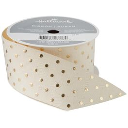 "Natural 1.5"" Cotton Ribbon With Gold Dots, 4.3 yards, , large"
