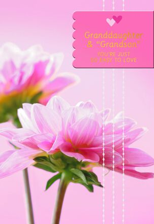 """Flowers for Granddaughter and """"Grandson"""" Valentine's Day Card"""