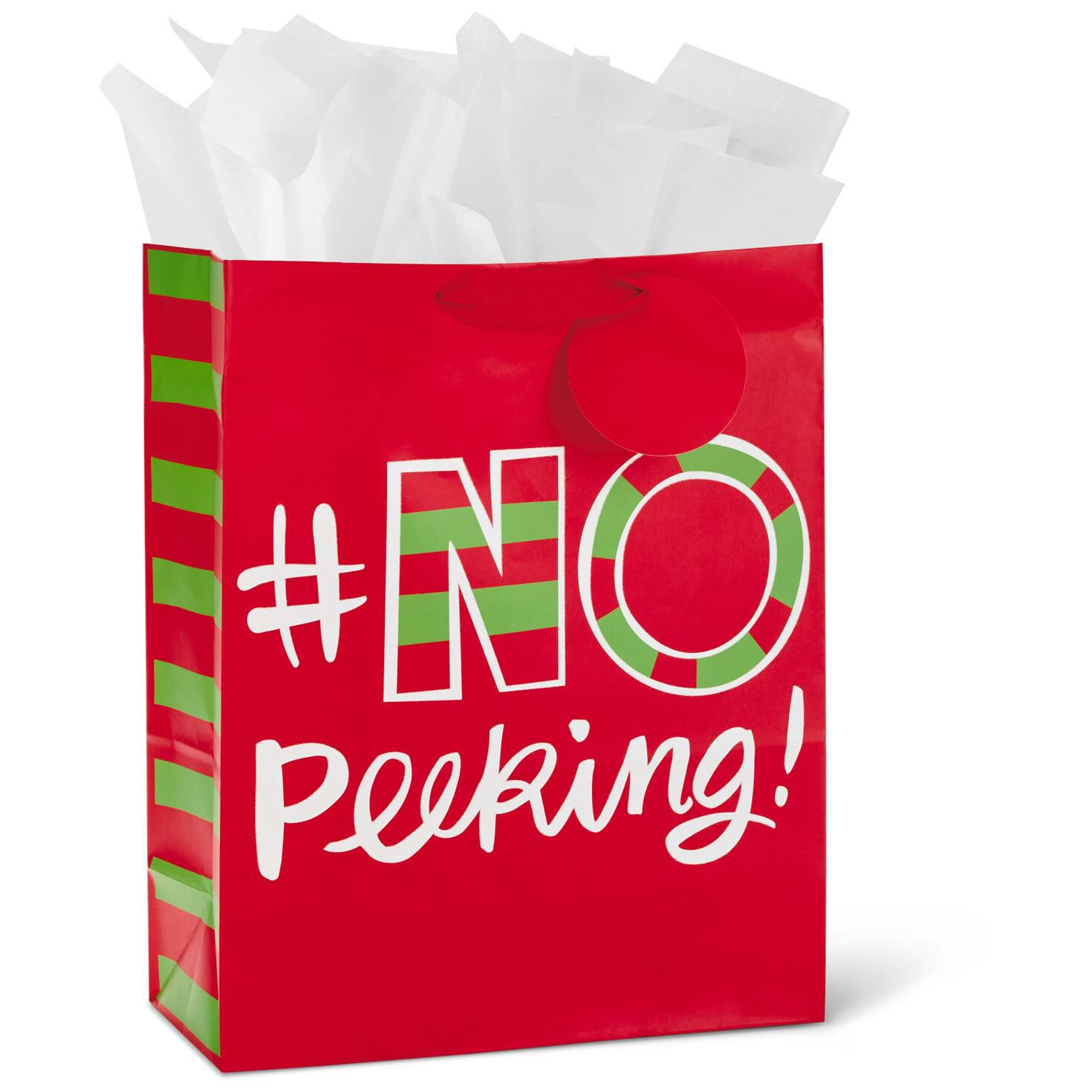 No Peeking X-Large Christmas Gift Bag With Tissue Paper, 15.5 ...
