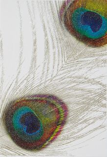 Metallic Peacock Feathers Blank Card,