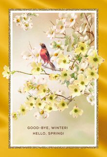 Hello Spring Dogwood Easter Card,