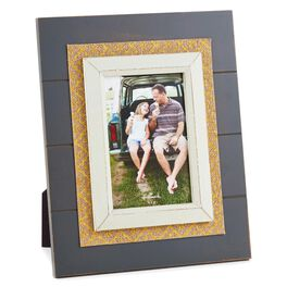 Burlap and Gold Foil in Black Picture Frame, 4x6, , large