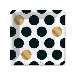Kenzie Black & Gold Dot Dessert Plates, Pack of 6, , large