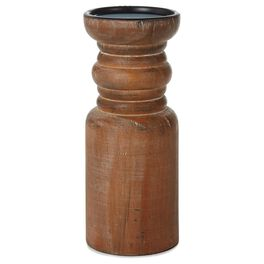 """Large Wood Pillar Candle Holder, 9"""", , large"""