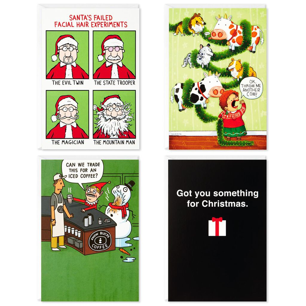 Funny Christmas Pictures.Santa And Friends Assorted Funny Christmas Cards Box Of 24