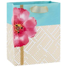 "Pink Flower With Gold Geometric Dots Medium Gift Bag, 9.5"", , large"