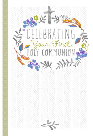 Silver Cross First Communion Card