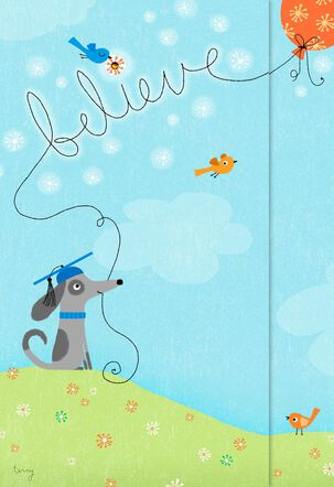 Dog and Balloons Graduation Congratulations Card