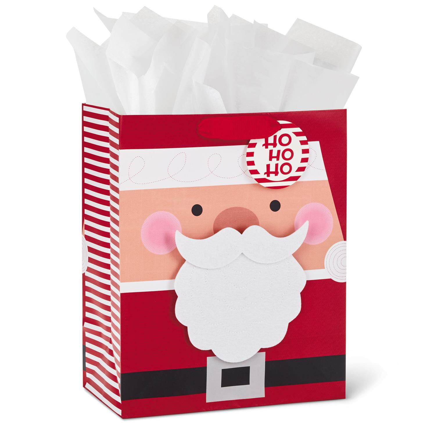 Removable Santa Beard Christmas Gift Bag With Tissue Paper 13