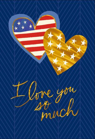 Stars and Stripes Hearts Veterans Day Love Card