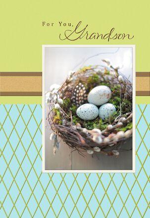 Nest of Robin's Eggs Easter Card for Grandson