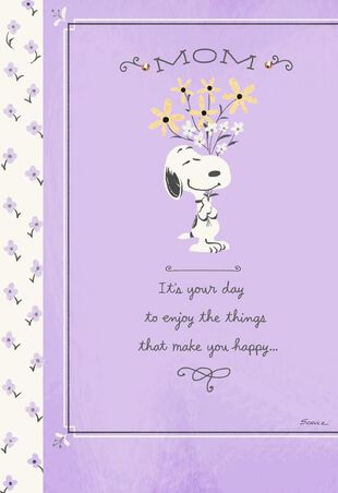 PeanutsR Snoopy With Bouquet Of Flowers Birthday Card For Mom