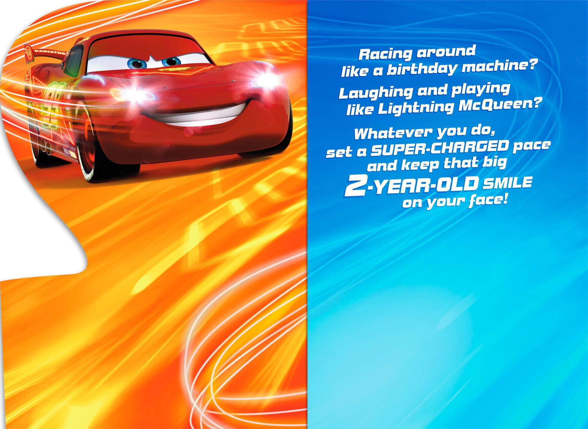 disney  pixar cars lightning mcqueen musical 2nd birthday card - greeting cards