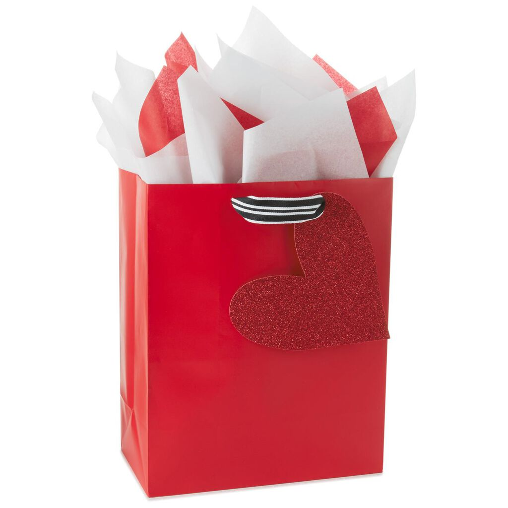 Red Glitter Heart Large Gift Bag With Tissue Paper, 13\