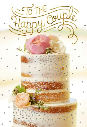 Cake With Flower Topper Wedding Card