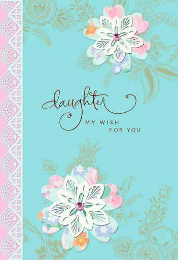 Lace Flowers Birthday Card For Daughter